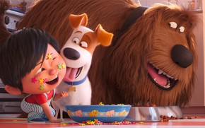 Picture dogs, girl, cereal, bowls, The secret life of Pets 2, The Secret Life of Pets …