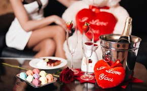 Picture girl, romance, heart, roses, strawberry, champagne, Valentine's Day