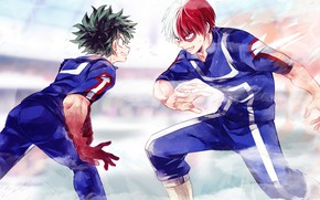 Picture battle, guys, Boku no Hero Academy, My Hero Academia, Midori Isuku, Todoroki Shoto, My heroic …