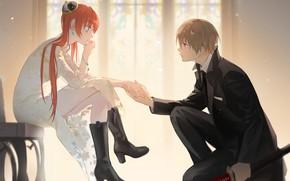 Picture girl, romance, guy, Gintama, Gintama