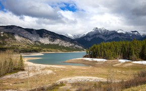 Picture forest, the sky, mountains, rocks, shore, the slopes, view, ate, Canada, Albert, pond