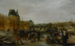 Picture landscape, oil, picture, Hendrick Avercamp, 1620, Hendrick Avercamp, Fun on ice on city channel