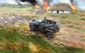 Picture Germany, armored car, the Wehrmacht, Ivan Hurenko, Heavy, All terrain vehicle, Sd.Kfz.247 Ausf.B, штабной автомобиль