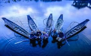 Picture water, tea, boat, fishermen, Asian customs