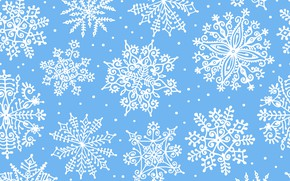 Picture winter, snowflakes, background, blue, pattern, ornament