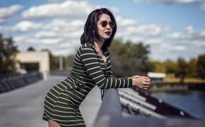 Picture sexy, pose, bokeh, on the bridge, Karla Bastidas