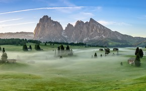 Picture Dolomite Alps, Morning, Fog, Italy