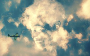 Picture the sky, clouds, the plane, photoshop, illusion