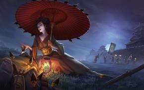 Picture Girl, Night, Japan, Asia, Japan, Geisha, Fantasy, Art, Umbrella, Samurai, Illustration, Katana, Characters, Memoirs of …