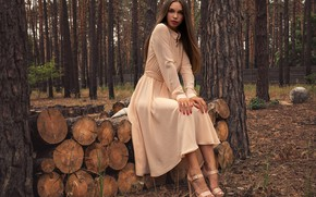 Picture Alina, forest, trees, nature, fence, woods, peach, outside, sexy woman, red lips, countryside, posing, heels, …