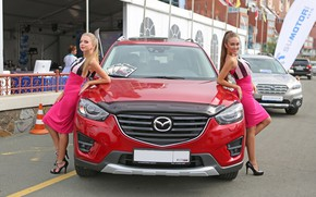 Picture look, Girls, Mazda, beautiful girls, red car, posing over the car