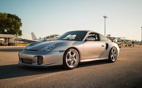 Picture aircraft, Porsche 911, Silver, Sportcar