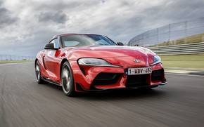 Picture movement, coupe, Toyota, Supra, the fifth generation, mk5, on the track, double, 2019, GR Above, …