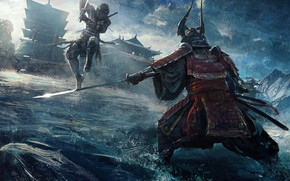Picture fantasy, armor, katana, battle, artist, ninja, digital art, fighting, artwork, concept art, Samurai, building, fantasy …