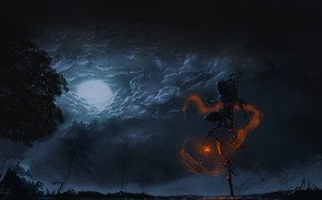 Picture Night, Figure, The moon, Magic, Art, Fiction, The sorcerer, Pathfinder, Illustration, Concept Art, Characters, Sorcerer, …