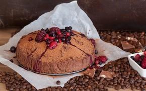 Picture berries, table, grain, pie, dessert, coffee, chocolate