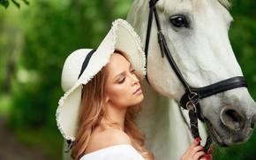 Picture look, girl, horse, hat, Sergey Yakubitskiy