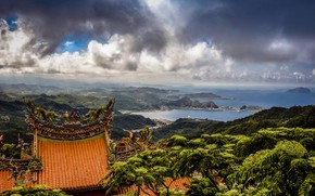 Picture sea, clouds, landscape, mountains, nature, hills, vegetation, roof, Taiwan