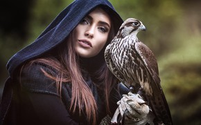 Wallpaper eyes, look, girl, nature, face, eyelashes, background, each, bird, portrait, hood, brown hair, Falcon, friends, ...