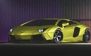 Picture Auto, Green, Machine, Car, Supercar, Aventador, Lamborghini Aventador, The front, Sports car, Green, Transport & …