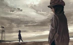 Picture sea, overcast, girls