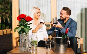 Picture girl, joy, flowers, mood, wine, bottle, roses, glasses, blonde, pair, bucket, male, glasses, two, table, …