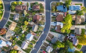 Picture city, house, streets, drone, aerial view