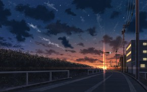 Picture the sky, street, the evening, lantern