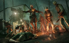 Picture night, fire, zombies, undead, Zombie Army 4: Dead War