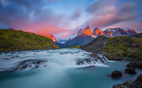 Picture mountains, river, Chile, Patagonia, National Park Torres del Paine