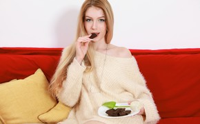 Picture girl, rose, chocolate, plate, pillow