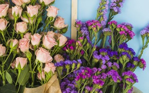 Picture flowers, roses, bouquet, pink, pink, flowers, beautiful, romantic, purple, roses