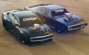 Picture Black, Retro, Machine, Machine, Charger, Dodge Charger, Rendering, R/T, Muscle Car, Two, Dodge Charger R/T, …