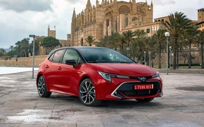 Picture palm trees, castle, Spain, promenade, clouds., Toyota-Corolla-Hatchback-Hybrid-20L-2019-5120x2880