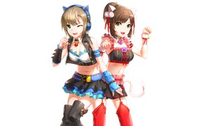 Picture cat, girls, headphones, white background, ears