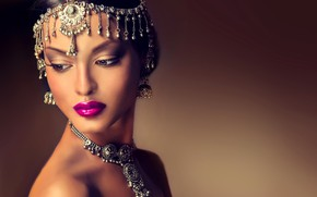 Picture look, girl, style, makeup, India, decoration