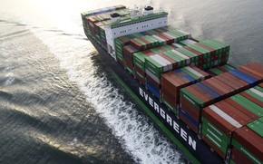 Picture The ocean, Sea, The ship, Technique, A container ship, The bridge, The add-in, Container, Vessel, …