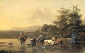 Picture landscape, oil, picture, Nicolas Pietersz Berchem, 1656, Ox Ford, Nicolaes Pietersz Berchem