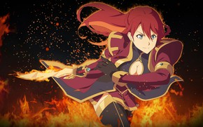 Picture girl, fire, sword, sparks, Re: Creators, Reviving
