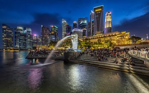Picture ladder, home, skyscrapers, people, Merlion Park, lights, night, lights, Singapore, building, promenade, fountain