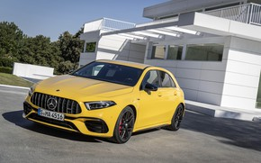 Picture car, machine, the building, AMG, hatchback, yellow car, sports car, A45 S, Mercedes AMG A45 …