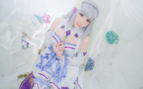 Picture white, chest, eyes, look, girl, pose, style, elf, portrait, hands, hairstyle, blonde, costume, outfit, image, ...