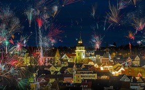 Picture lights, holiday, tower, salute, Germany, New Year, Christmas, fireworks, Backnang