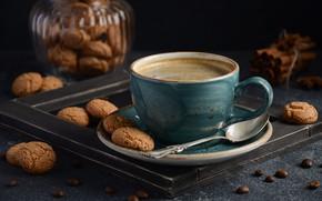 Picture coffee, cookies, spoon, Cup, saucer, Julij Adm