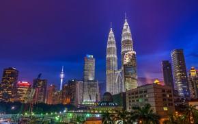Picture the city, lights, building, crane, tower, Malaysia, Kuala Lumpur