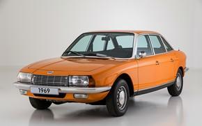Picture orange, grey, background, 1969, sedan, four-door, Ro 80, NSU
