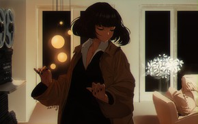 Picture room, tape, cloak, black hair, Pulp fiction, by Iceroy, closed eyes, character, Pulp Fiction