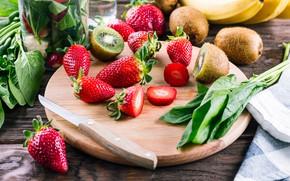 Picture food, kiwi, strawberry, banana, food, vitamins, fresh, healthy, fruit