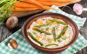 Picture mushrooms, plate, carrots, porridge