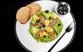 Picture meat, fruit, plug, olives, salad